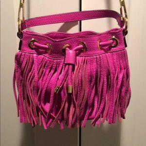 Hot pink fringe, drawstring Milly handbag